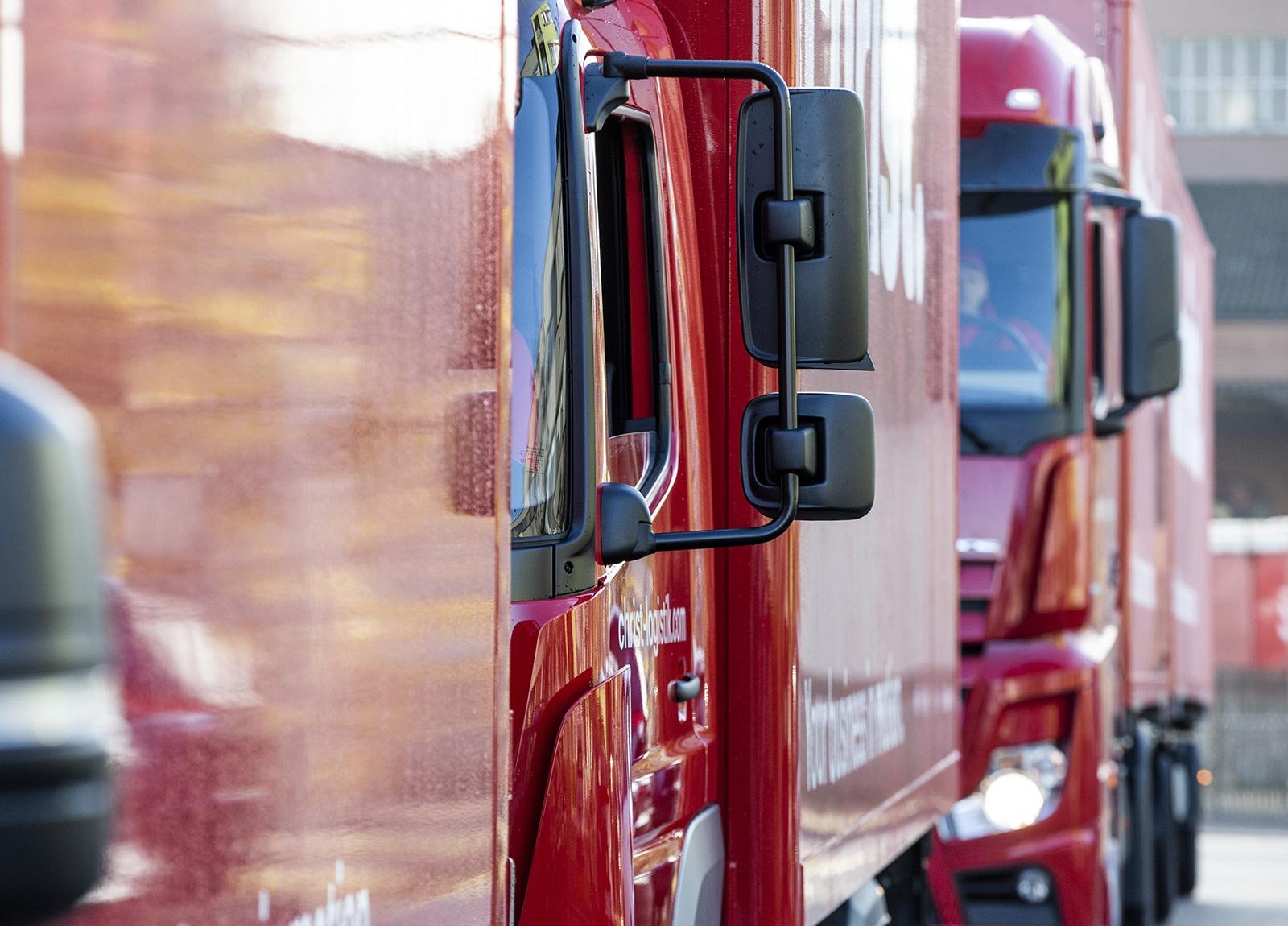 Rote Christ Logistik unternehmens-LKWs