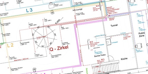 Plan einer Messehalle